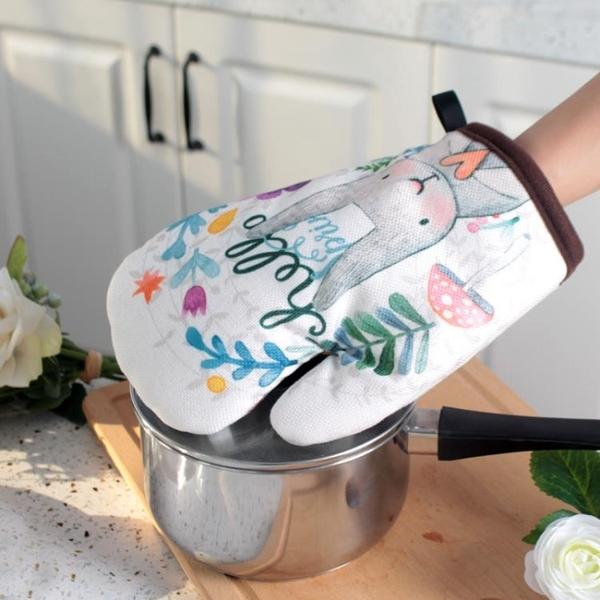 微波爐烤箱防燙手套加厚耐高溫家用卡通可愛廚房烘焙棉隔熱手套 宜品居家
