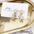 現貨 韓國氣質甜美幾何立體五角星星珍珠水鑽耳環 夾式耳環 S93447  批發價 Danica 韓系飾品