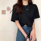 大碼T恤 夏季大碼胖MM短款上衣女設計感小眾交叉百搭寬鬆露臍短袖T恤ins潮 小天使 618