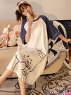 熱賣睡裙 睡裙夏季純棉短袖寬鬆學生睡衣2021年新款中長款少女大碼春秋裙子 coco