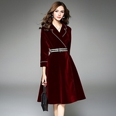 洋裝-七分袖秋季西裝領純色金絲絨女連身裙2色73of169【巴黎精品】