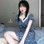 碎花洋裝 法式復古碎花蕾絲拼接短袖連身裙女夏季韓版BM高腰顯瘦V領短裙子 小天使