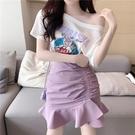 魚尾裙 紫色魚尾裙女半身裙夏天港風修身顯瘦A字包臀裙高腰短裙-Ballet朵朵
