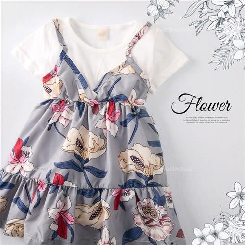 浪漫彩花漾傘狀假兩件傘狀上衣小洋裝(250436)★水娃娃時尚童裝★