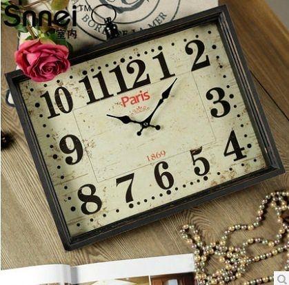 歐式木質方形掛鐘  掃秒機芯時鐘RQ