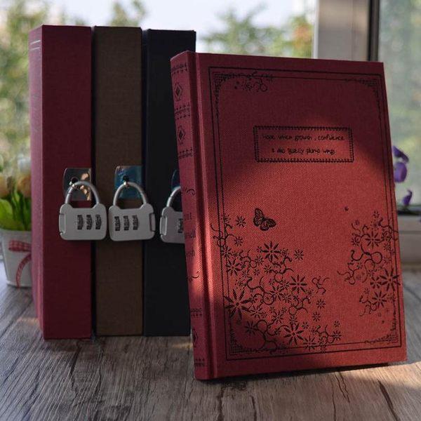 盒裝密碼本彩頁插畫文具密碼鎖筆記本復古創意韓國風帶鎖大日記本