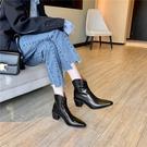 手工真皮女鞋34~39 2020帥氣百搭馬油牛皮尖頭高跟西部靴 馬丁靴 短靴子~2色