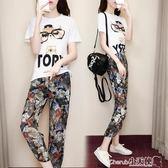 兩件套 韓版雪紡時尚套裝女夏學生寬鬆顯瘦氣質休閒兩件套潮【小天使】