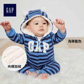 Gap男嬰兒 logo加絨寶寶長袖包屁衣 連帽連身衣 374418-海軍藍色
