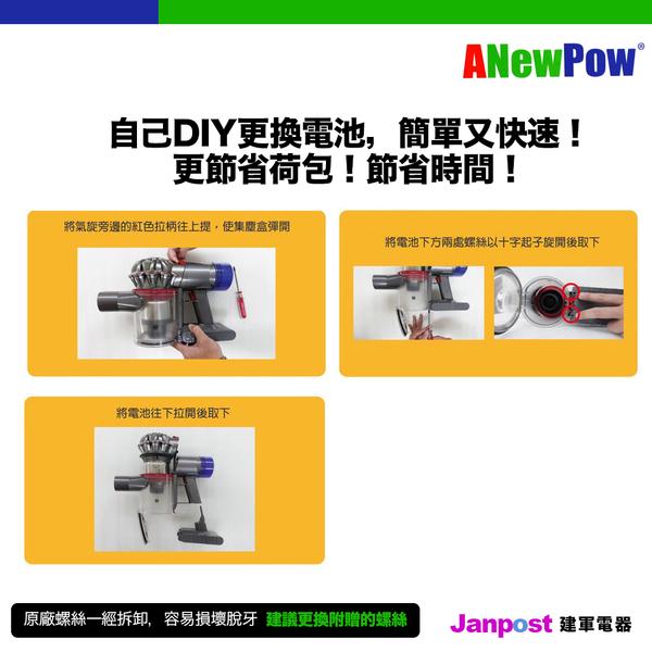 Anewpow 新銳動能 Dyson V8 可用 大容量3000mAh 電池 40分鐘 一年保固