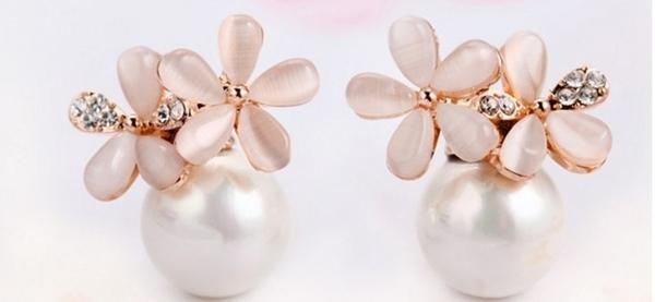 小櫻花珍珠耳環