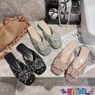 穆勒鞋 港風包頭半拖鞋女外穿2021春季新款低跟穆勒鞋蝴蝶結水鉆珍珠涼拖 寶貝計畫 618狂歡
