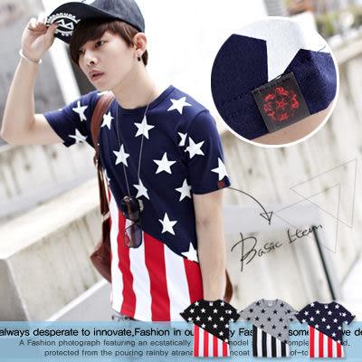 ∥柒零年代∥S/S OutDoor【N7857J】韓款夏日視覺焦點全幅配色美國國旗設計短TEE(GS2001)