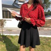 短裙 秋季新款韓版鬆緊高腰顯瘦針織A字傘裙打底半身短裙子學生女 鹿角巷
