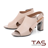 TAS異材質拼接側鏤空粗跟涼鞋-質感膚
