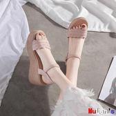 楔形涼鞋 涼鞋 坡跟 厚底 松糕 一字扣帶 女鞋