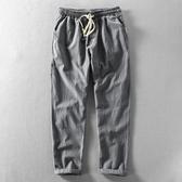 新款簡約休閒男士亞麻褲系繩寬鬆透氣棉麻料青年潮流加大碼長褲子 向日葵生活館