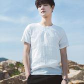 春夏韓版男士純色寬鬆短袖T恤青少年小清新T恤衫薄款日系復古