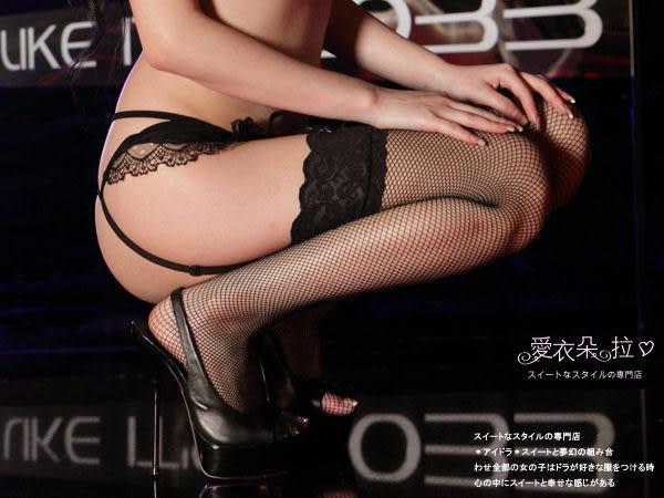 網襪 黑色蕾絲頭大腿襪 背後直線拉直腿部線條- 愛衣朵拉