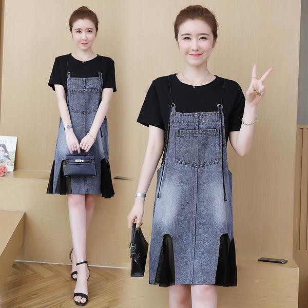 超殺29折 韓國學院風大碼寬鬆顯瘦牛仔套裝短袖裙裝