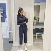 2018春新款女裝高腰顯瘦工裝長袖連身長褲牛仔休閒連體褲寬鬆套裝【無趣工社】