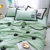 韓式可水洗毛巾繡夏涼被(含枕套)-綠色小貓【BUNNY LIFE邦妮生活館】
