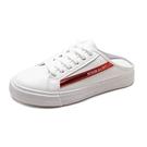 一腳蹬懶人鞋 2020新款半拖鞋女夏時尚小白鞋無後跟包頭懶人孕婦涼拖平底一腳蹬 交換禮物