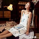 夏天睡裙吊帶性感無袖中裙子女士睡衣夏季薄款印花棉質家居服 PA17659『男人範』