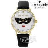 kate spade / KSW1181 / 經典紅脣女王真皮手錶 白x金框x黑 34mm