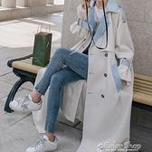 風衣女學生秋季新款2021時尚洋氣百搭韓版寬松拼接長款鹽系外套潮 快速出貨