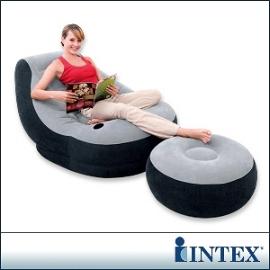 INTEX《懶骨頭》單人充氣沙發椅附腳椅-灰色 15030060(68564)