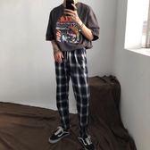 cuibuju/18ss ins同款復古格子褲子夏季韓版直筒褲百搭休閒褲男潮   麥吉良品