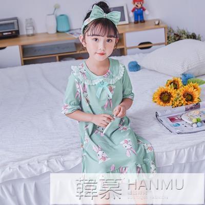 兒童睡裙女夏季短袖純棉寶寶小孩小女孩公主親子女童睡衣家居服 夏季新品