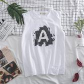 韓國原宿風學生坎肩背心男女夏季情侶百搭印花無袖T恤男潮