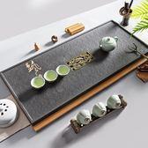 好評推薦可定制烏金石茶盤家用簡約石茶盤天然石材大號石頭茶具黑金石整塊石茶臺jy