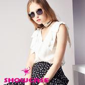 【SHOWCASE】氣質蝴蝶結肩飾無袖V領雪紡襯衫(白)
