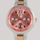 【萬年鐘錶】星辰 CITIZEN Wicca 三眼時尚設計女腕錶  粉彩橘 33mm BH7-539-91