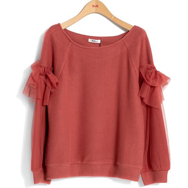 秋冬7折[H2O]手感柔軟袖子網紗剪接設計九分袖針織上衣 - 紅/黑/淺紫色 #9651007