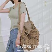 編織草包  新款韓版草編包可折疊編織包草包沙灘包單肩包海邊旅游度假女包包  歐韓流行館