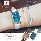 正韓JULIUS湛藍風采長方形點鑽真皮手錶【WJA9418】璀璨之星☆