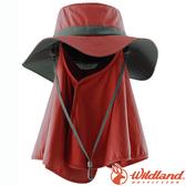 Wildland 荒野 W1033-18赭紅 中性抗UV調節式遮陽帽 防曬工作帽/登山健行休閒帽/遮臉大圓盤帽