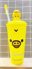 【震撼精品百貨】Rilakkuma San-X 拉拉熊懶懶熊~吸管水壺600ML-小雞*20062