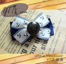 【YT店髮飾】海軍風藍白俏皮緞帶蝴蝶結髮夾/髮飾/頭飾/彈簧夾(G015)