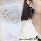 『坂井.亞希子』幾何鏤空正立方體珍珠點綴耳環