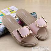 拖鞋女夏時尚外穿新款沙灘外出韓版方扣家居涼拖室內外平底女涼鞋 遇見生活