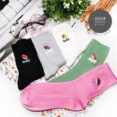 日本刺繡壽司圖案中筒襪子 日系長襪 短襪 可愛襪子 韓妞必備 學生最愛 滿額免運 阿華有事嗎