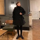 冬裝韓版流行冷系女裝外套港味中長款加厚呢子赫本大衣小個子