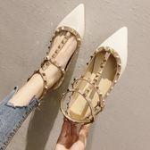 網紅單鞋女新款百搭歐洲站淺口尖頭鉚釘平頭鞋軟底仙女鞋
