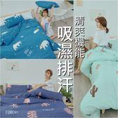3M吸濕排汗專利技術5x6.2尺標準雙人床包+枕套三件組-台灣製(不含被套)潔淨乾爽『四款任選』