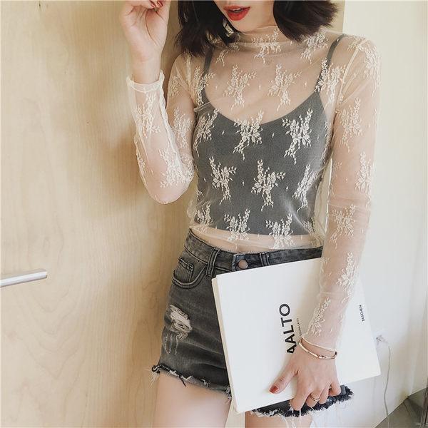 +H新款內搭性感鏤空網格透視長袖網紗衣打底衫上衣蕾絲衫 &小咪的店&